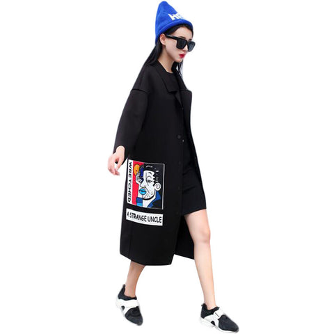 2016 New Spring Fashion/Casual Women's Trench Coat Long Outerwear Cartoon Loose Clothes Single Breasted Vestidos Plus Size - Dollar Bargains - 1