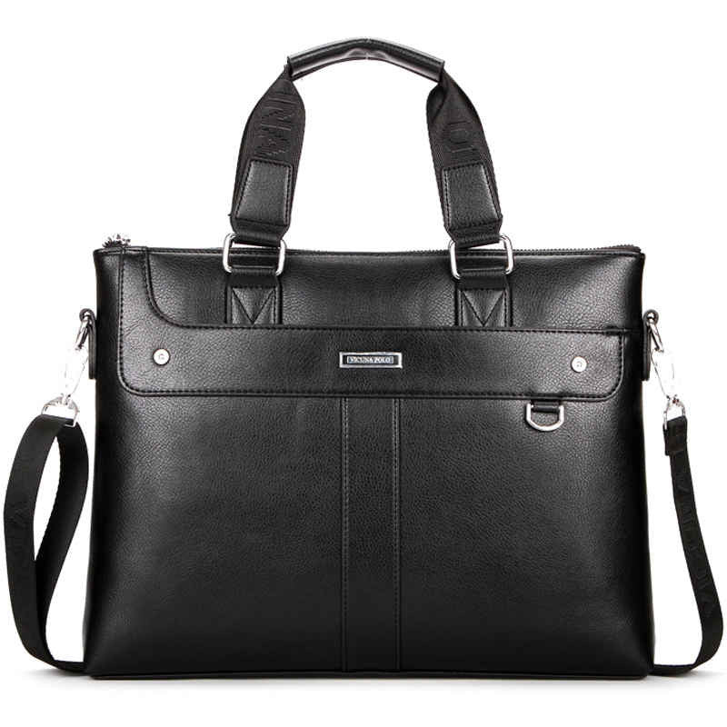 Brand High Quality Leather Men Briefcase 14inch Leather Men Handbag For Laptop Classic Business Man Bag