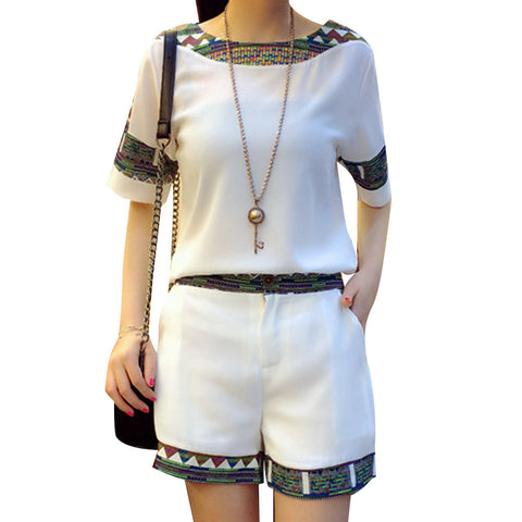 2016 Korean Summer New Women's Slim Short Sleeved Chiffon T-shirt + Shorts Two Piece Fashion Patchwork Suit Set Elegant Clothing - Dollar Bargains - 1
