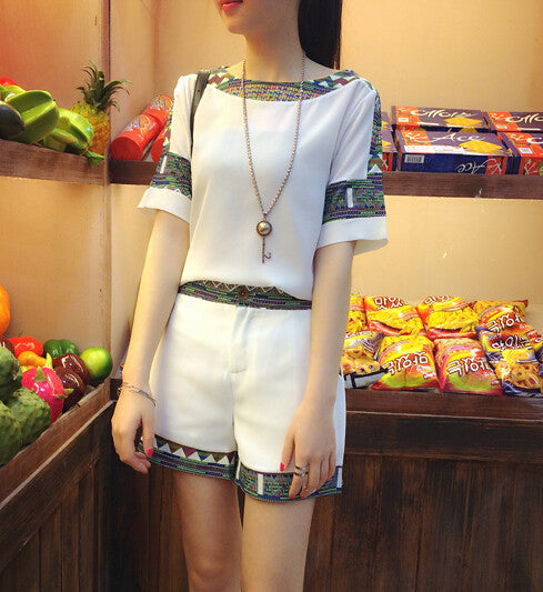 2016 Korean Summer New Women's Slim Short Sleeved Chiffon T-shirt + Shorts Two Piece Fashion Patchwork Suit Set Elegant Clothing - Dollar Bargains - 3