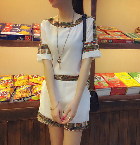 2016 Korean Summer New Women's Slim Short Sleeved Chiffon T-shirt + Shorts Two Piece Fashion Patchwork Suit Set Elegant Clothing - Dollar Bargains - 2