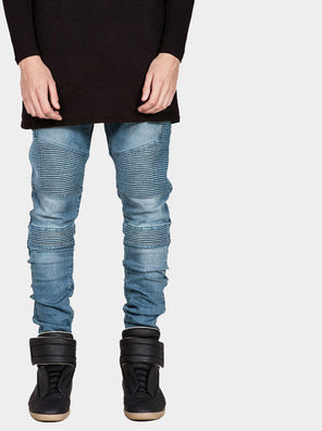 Mens Skinny Biker Jeans Men Hi-Street Ripped Rider Denim Jeans Motorcycle Runway Slim Fit Washed Moto Denim Pants Joggers-Dollar Bargains Online Shopping Australia