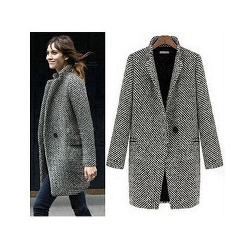 free shipping elegant women winter wool coats plus size grey warm cotton trench laides velvet thick jacket long overcoat - Dollar Bargains - 1