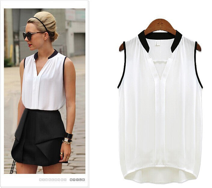 white / MWomen's Blouses Sleeveless Chiffon V Neck Loose Summer Style Ladies Casual Tops Female Clothing New White Black And Shirts