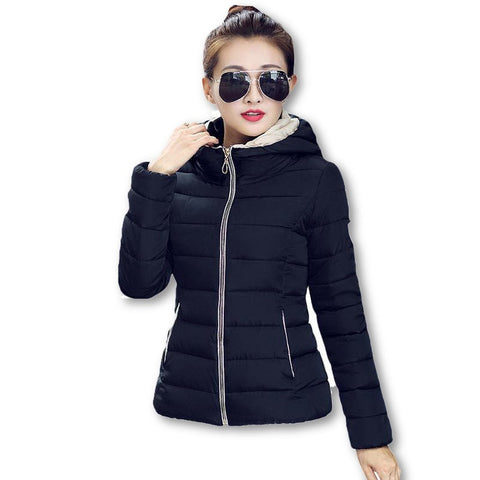 2015 Winter Jacket Women Hooded Parka Slim Cotton-Padded High Neck Candy Color Cotton Jacket Coat Plus Size z84 - Dollar Bargains - 1