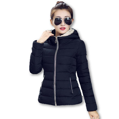 Winter Jacket Women Hooded Parka Slim Cotton-Padded High Neck Candy Color Cotton Jacket Coat Plus Size z84-Dollar Bargains Online Shopping Australia
