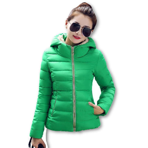 2015 Winter Jacket Women Hooded Parka Slim Cotton-Padded High Neck Candy Color Cotton Jacket Coat Plus Size z84 - Dollar Bargains - 6