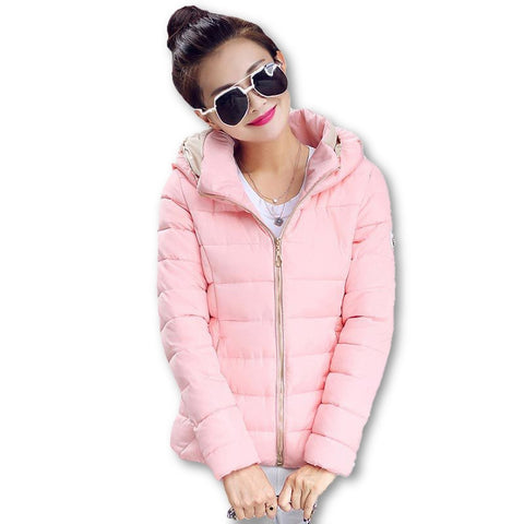 2015 Winter Jacket Women Hooded Parka Slim Cotton-Padded High Neck Candy Color Cotton Jacket Coat Plus Size z84 - Dollar Bargains - 4