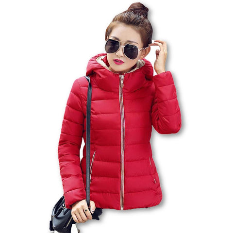 2015 Winter Jacket Women Hooded Parka Slim Cotton-Padded High Neck Candy Color Cotton Jacket Coat Plus Size z84 - Dollar Bargains - 2