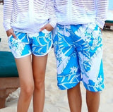 Fashion Blue and white Print Board Shorts Beach Pants Lovers Couple Models Men Women Girls Boys Ladies Shorts K609-Dollar Bargains Online Shopping Australia