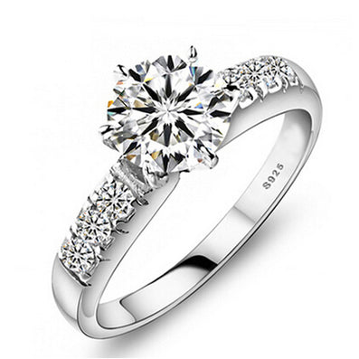 Send Certificate of Silver 100% 925 Sterling Silver Wedding Rings For Women Luxury 0.75 Carat CZ Diamond Engagement Ring ZP68-Dollar Bargains Online Shopping Australia