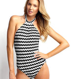 Sexy Black and White Striped Swimsuit Halter High Neck one Piece Backless Swimsuit Woman Swimwear Beachwear Polyester-Dollar Bargains Online Shopping Australia