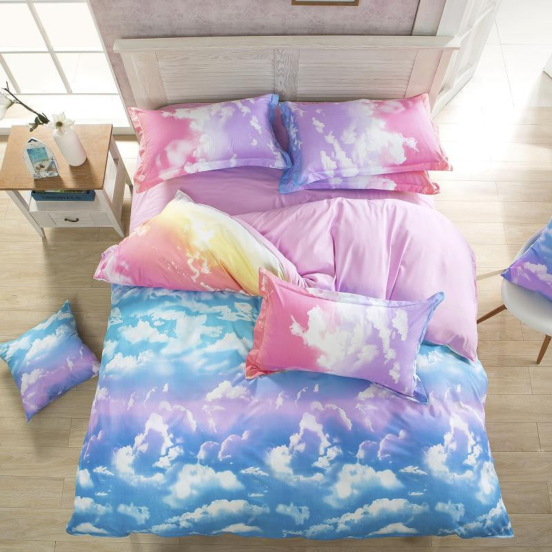 TwinNew Comforter Bedding Set Reactive Printed Sky Clouds Duvet Cover Sets 100% Polyester Flat Sheets Queen/Full/Twin
