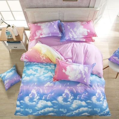 New Comforter Bedding Set Reactive Printed Sky Clouds Duvet Cover Sets 100% Polyester Flat Sheets Queen/Full/Twin-Dollar Bargains Online Shopping Australia