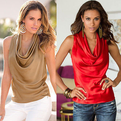 New Sexy Fashion Women Lady Blouse Clothing Summer Sleeveless V-neck Tops Tee Sleeveless Casual Blouse Loose-Dollar Bargains Online Shopping Australia