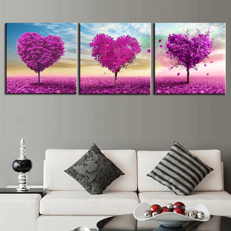 30cmx3ocmx3pcsUnframed 3 sets Canvas Painting Purple Loving Heart Trees Art Cheap Picture Home Decor On Canvas Modern Wall Prints Artworks