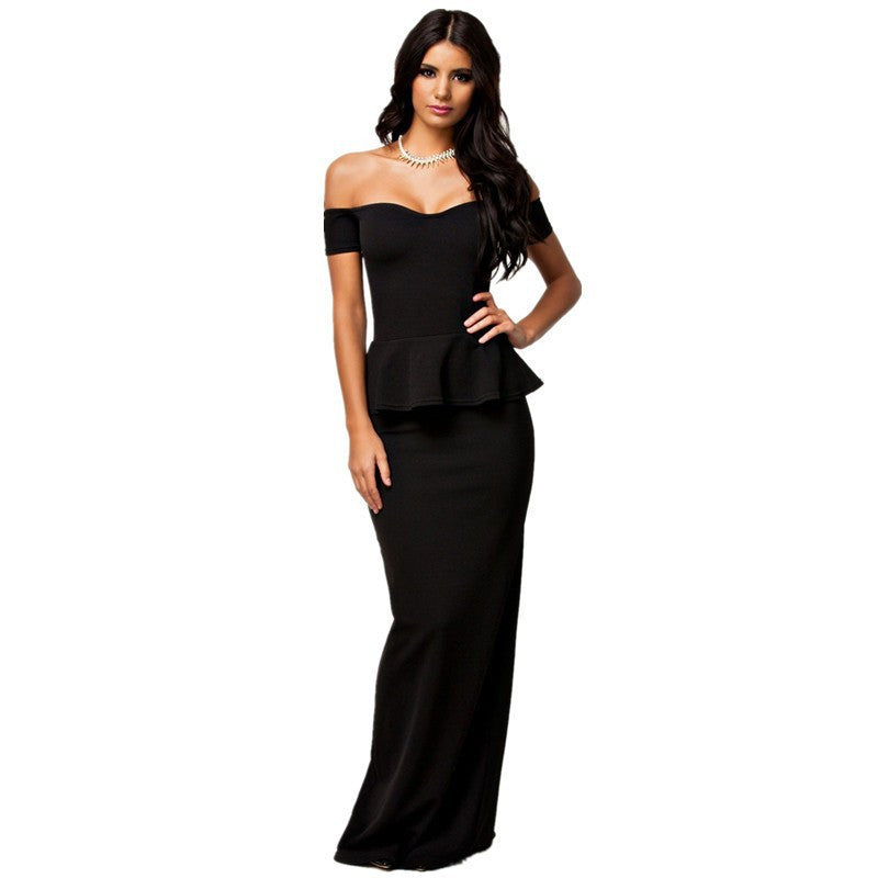 Black / MWomen dress 3 colors Sexy Peplum Maxi Dress With Drop shoulder Long Dress LC6244 plus size M L XL XXL