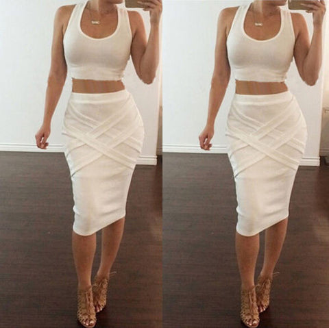 2015 Summer Women sexy two-piece dress Top and Skirt Set Long maxi Bodycon Dress - Dollar Bargains - 1