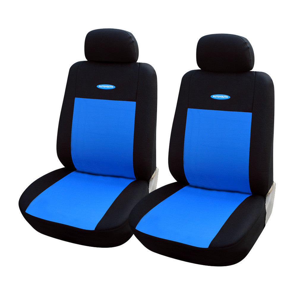 Blue 2pcsHigh Quality Car Seat Covers Universal Fit Polyester 3MM Composite Sponge Car Styling lada car covers seat cover accessories