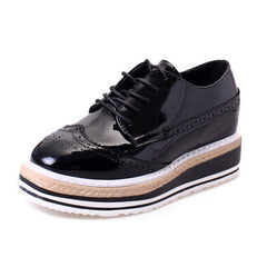 Women Creepers Platform Shoes Patent Leather Oxfords Spring Flats Casual Lace-Up Women Brogue Shoes 3D07-Dollar Bargains Online Shopping Australia