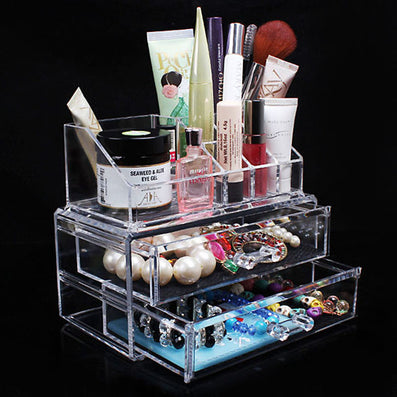 New Portable Transparent Acrylic Cosmetic Organizer Drawer Makeup Case Storage Insert Holder Box-Dollar Bargains Online Shopping Australia