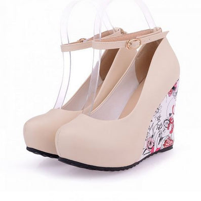 Fashion Ankle Strap High Wedges Platform Summer Pumps For Women Casual Elegant Flower Print Wedges Platform Shoes mary jane-Dollar Bargains Online Shopping Australia