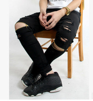 new brand Hi-Street For Men Ripped Biker Jeans Motorcycle Skinny Slim Fit Black Denim Pants Destroyed swag Joggers kanye west-Dollar Bargains Online Shopping Australia