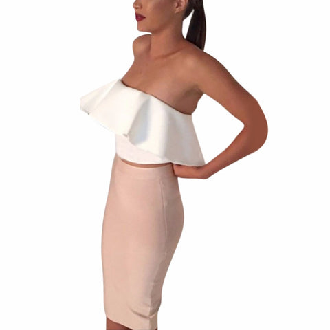 2 Pcs Women Ladies Sexy Strapless Ruffle Crop Top Pencil Skirt Bandage Bodycon Party Dresses Set - Dollar Bargains - 1