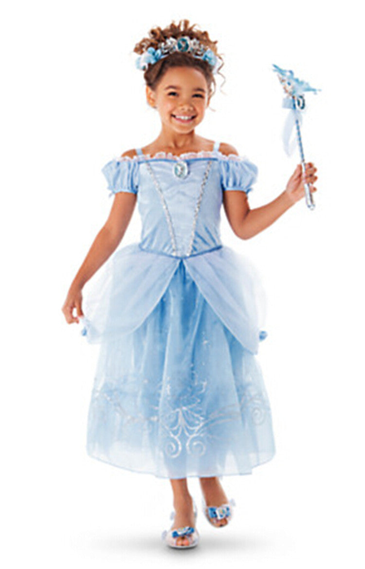 A / 2TNew Girls Party Dresses Kids Summer Princess Dresses for Girls Cinderella Rapunzel Aurora Belle Cosplay Costume Wedding Dresses