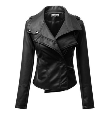 New Fashion Women Motorcycle PU Leather Jackets Female Autumn Short Epaulet Zippers Coat Black White Yellow Outwear-Dollar Bargains Online Shopping Australia