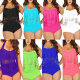 Female Bikini Feipo High Waisted Fringed Bathing Suit Women Solid Swimsuit Plus Size Maillot De Bain Femme Sexy Bikinis Women - Dollar Bargains - 1