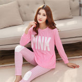 19 Styles Casual Women Pajamas Set Cartoon O-Neck Long Sleeve Pyjamas For Women Summer Nightwear Sleepwear Suit Pink M~XL - Dollar Bargains - 1