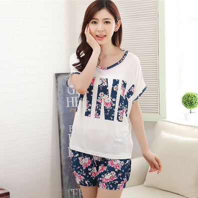 Silk Flowers Pink Short Sleeved Lace Spliced White Shorts Pajamas Home Clothing-Dollar Bargains Online Shopping Australia