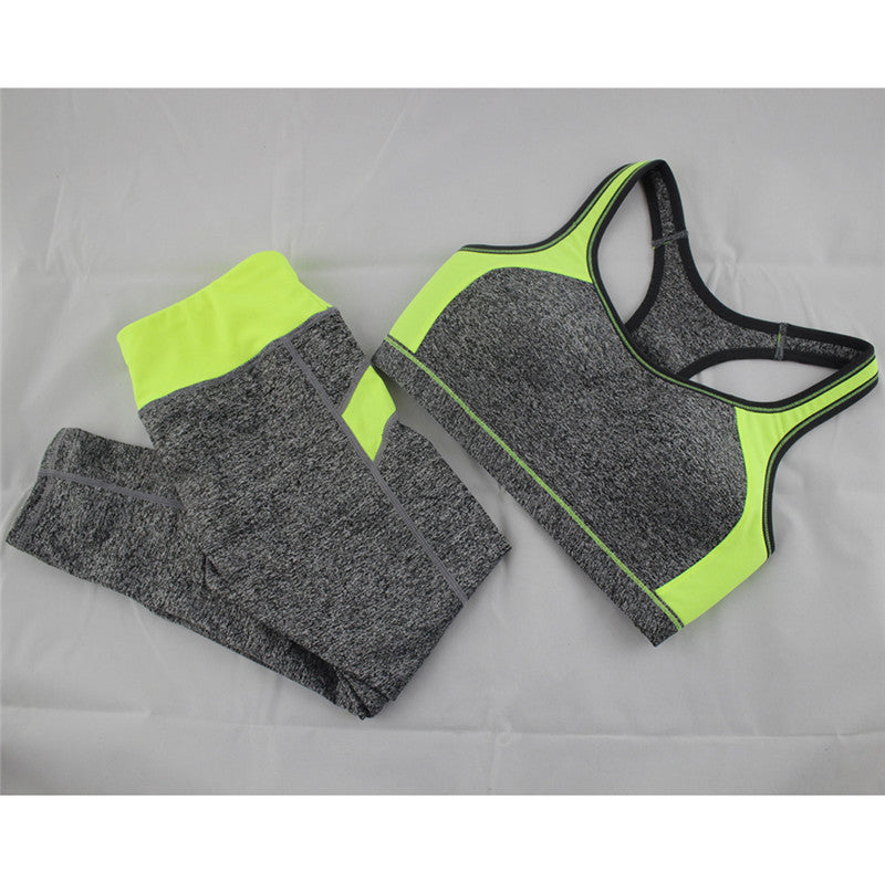 neon yellow / L / ChinaWomen's Casual Sets Seamless Bra Top and Elastic Capris Fashion Patchwork Suits 1 Set