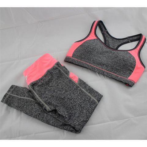 B.BANG New Women's Casual Sets Seamless Bra Top and Elastic Capris Fashion Patchwork Suits 1 Set - Dollar Bargains - 2