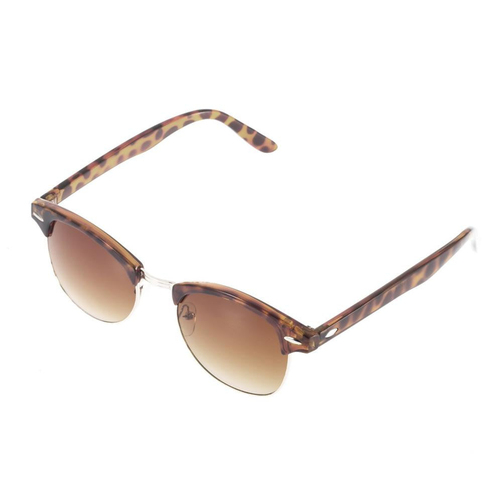 leopard / MultiRetro Half Frame Shades Style Classic Frame Sunglasses Summer Eyewear Women Men Sun Glasses 3 Colors