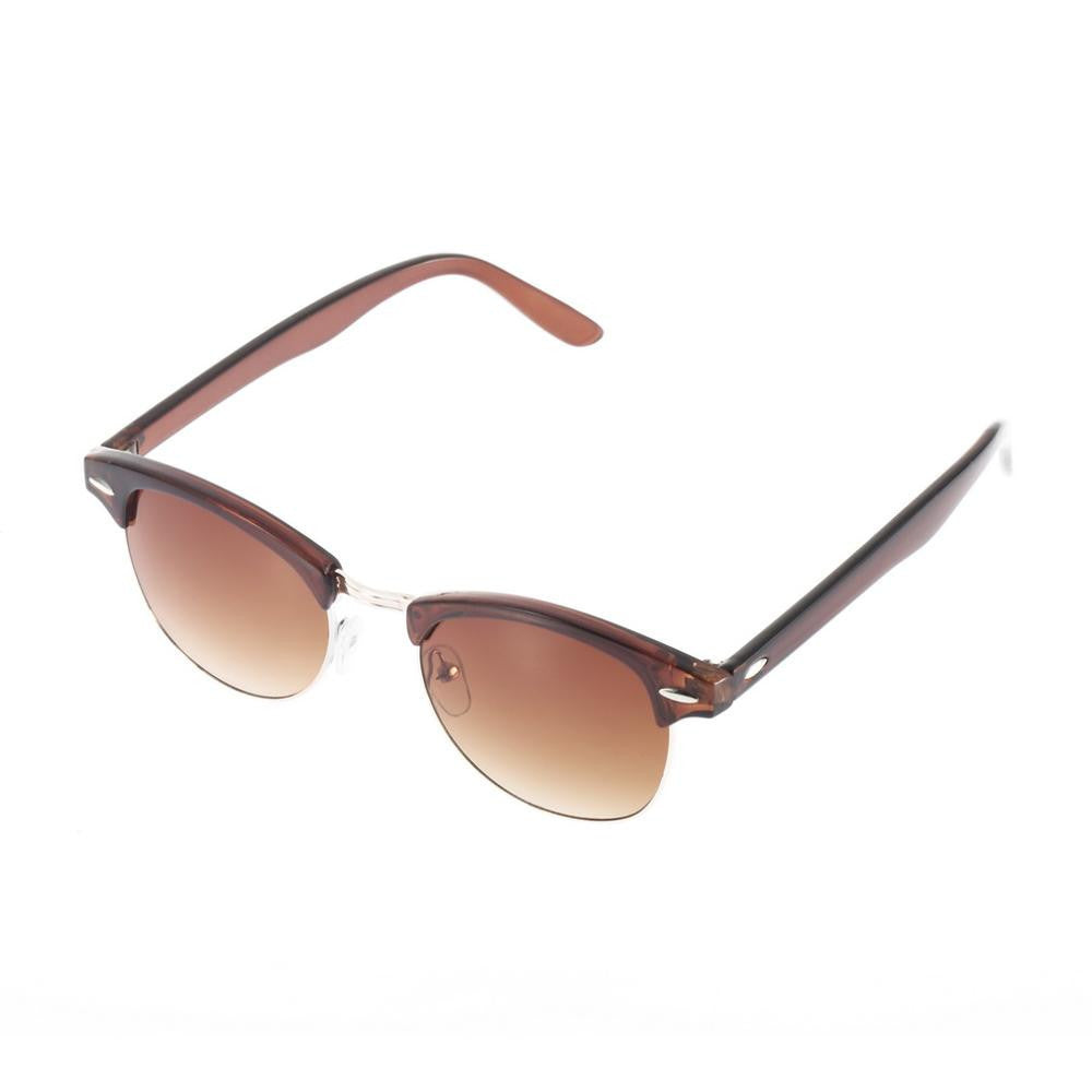 tea color / MultiRetro Half Frame Shades Style Classic Frame Sunglasses Summer Eyewear Women Men Sun Glasses 3 Colors