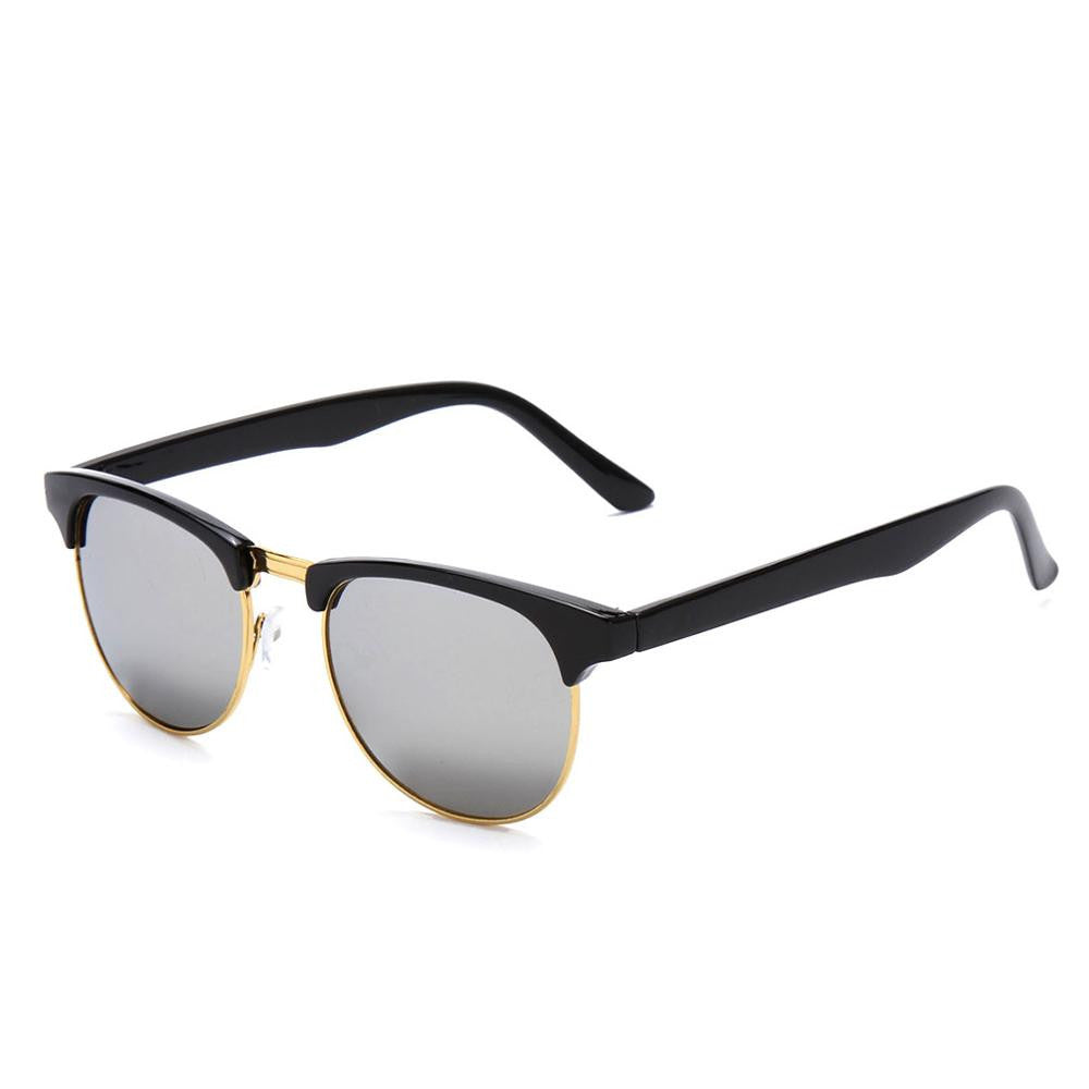 white Lens / MultiRetro Half Frame Shades Style Classic Frame Sunglasses Summer Eyewear Women Men Sun Glasses 3 Colors