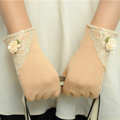 Womens Lace Gloves Winter Warm Wrist Gloves Ladies Touch Screen Mittens Cotton Leather Gloves For Women eldiven YL15-Dollar Bargains Online Shopping Australia