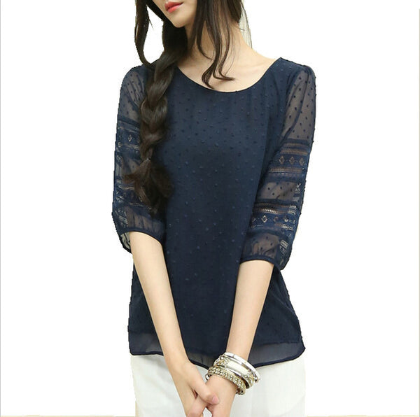 2d815c50640 Korea style plus size sheer blouses short sleeve blusas chiffon shirts big  size women clothes summer