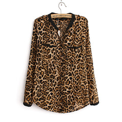 Women Blouse Leopard Print Shirt Long sleeve V -Neck Top Loose Blouses Plus Size Chiffon Shirt Camisa Feminina Clothing-Dollar Bargains Online Shopping Australia