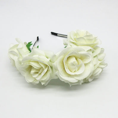 Bride women Rose Flower crown Hairband Wedding Flower Garland Headband Festival flower wreath Elastic Headdress Hair Accessories-Dollar Bargains Online Shopping Australia