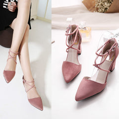 womens pumps Ladies shoes high square heels buckle strap flock shoes-Dollar Bargains Online Shopping Australia