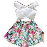2016 New Fashion Women Two Piece Set Dress Cross Crop Top And Skirt Set Floral Printed Dress Plus Size Tops - Dollar Bargains - 1