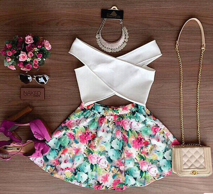 2016 New Fashion Women Two Piece Set Dress Cross Crop Top And Skirt Set Floral Printed Dress Plus Size Tops - Dollar Bargains - 3