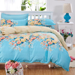 Elegant Floral Bedding Set Polyester Cotton Bed Linen Sets 4pcs Bedspreads Kids Twin Size Blue Duvet Cover Bed Sheet Set-Dollar Bargains Online Shopping Australia