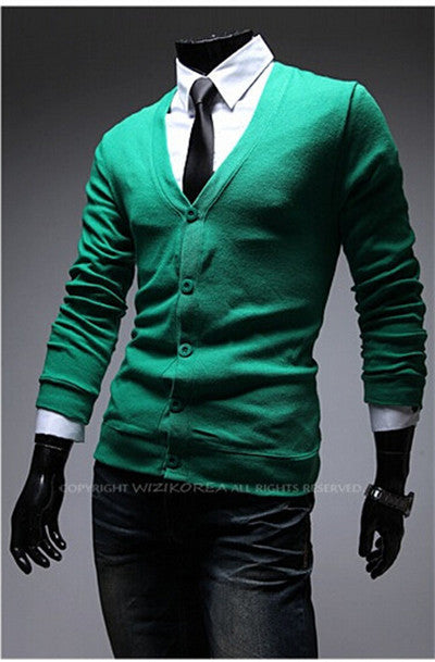 Light green / MNew Autumn Fashion Crime Brand Knitting Cardigan Sweater Men Cardigan Sweater Leisure Men v-neck Sweater Men