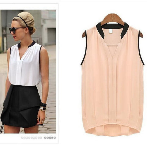 MuLian 2016 Hot Sales Fashion Womens Casual Chiffon Blouse Solid Color Sleeveless Womens Tops V-Neck Women Shirt Wild Style - Dollar Bargains - 1