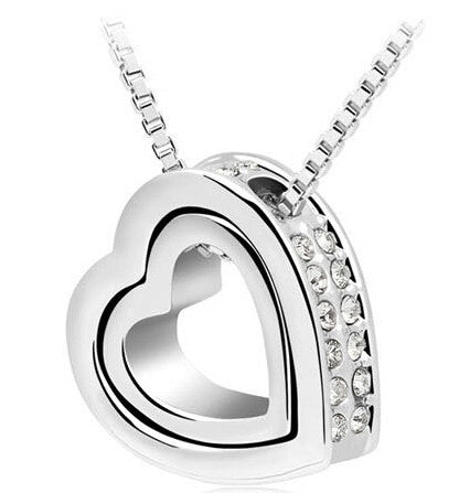WhiteHeart Necklace Women Silver & 18K Gold Plated Jewelry Crystal Necklaces & Pendants Jewellery Valentine's Day And Christmas Gift
