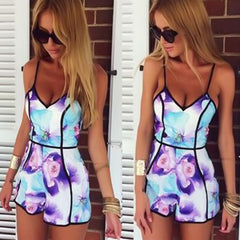 Fashion Jumpsuit Rompers Bodysuit Overalls For Womens Ladies Summer Sexy Deep V-Neck Floral Printed Shorts Playsuit-Dollar Bargains Online Shopping Australia